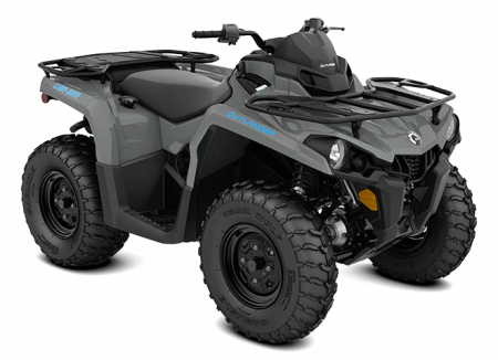 MY21-Can-Am-Outlander-DPS-450-Granite-Gray-Octane-Blue-34view